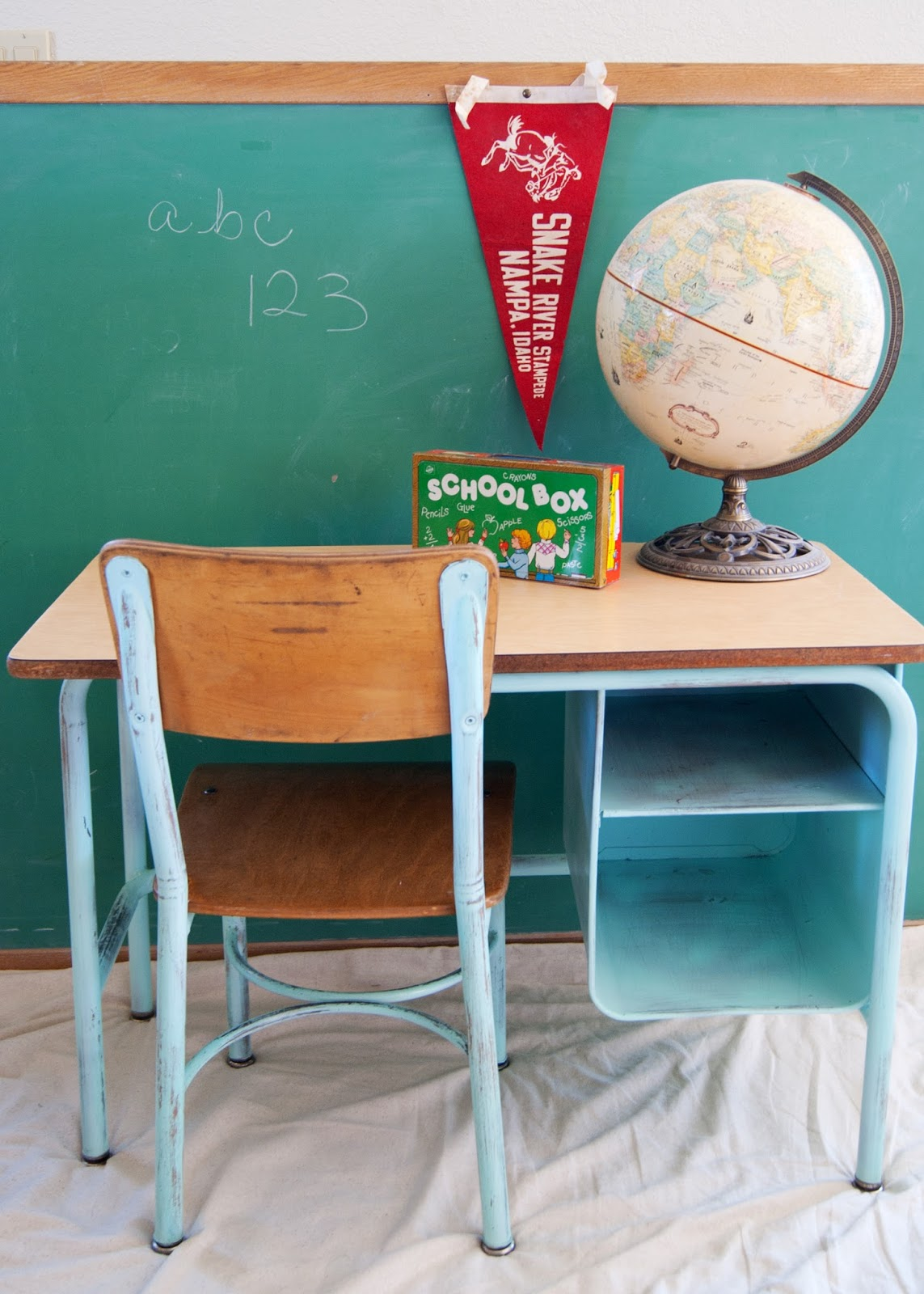 School Desk And Chair Makeover Aqua Globe Pennant Chalkboard