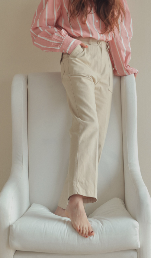 Straight Single Tone High-Rise Pants