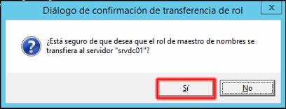 transferencia de la función Naming master