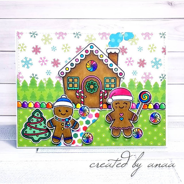 Sunny Studio Stamps: Jolly Gingerbread Customer Card by Ana A