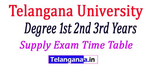 Telangana University Degree 1st 2nd 3rd Years Supply Exam Time Table 2018