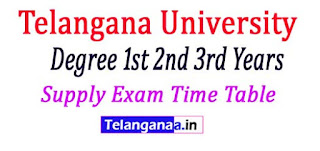 Telangana University Degree 1st 2nd 3rd Years Supply Exam Time Table 2017
