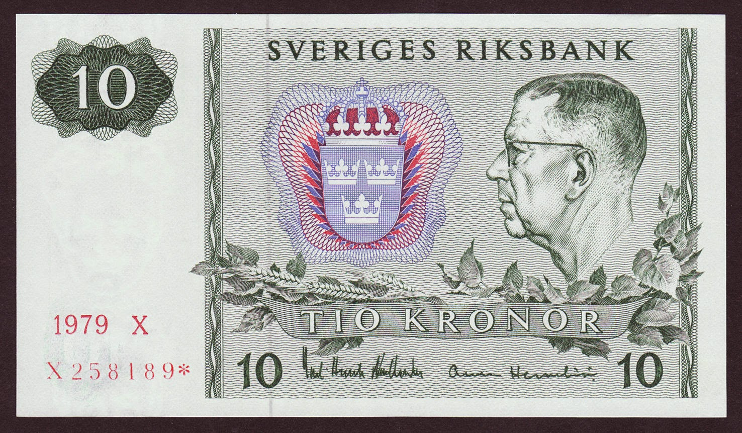 Sweden banknotes 10 Swedish Krona note, King Gustaf VI Adolf