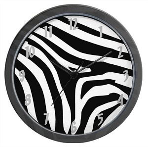 Black and White Zebra Print Wall Clock