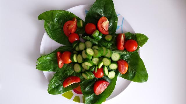 Sorrel, tomatoes, cucumbers