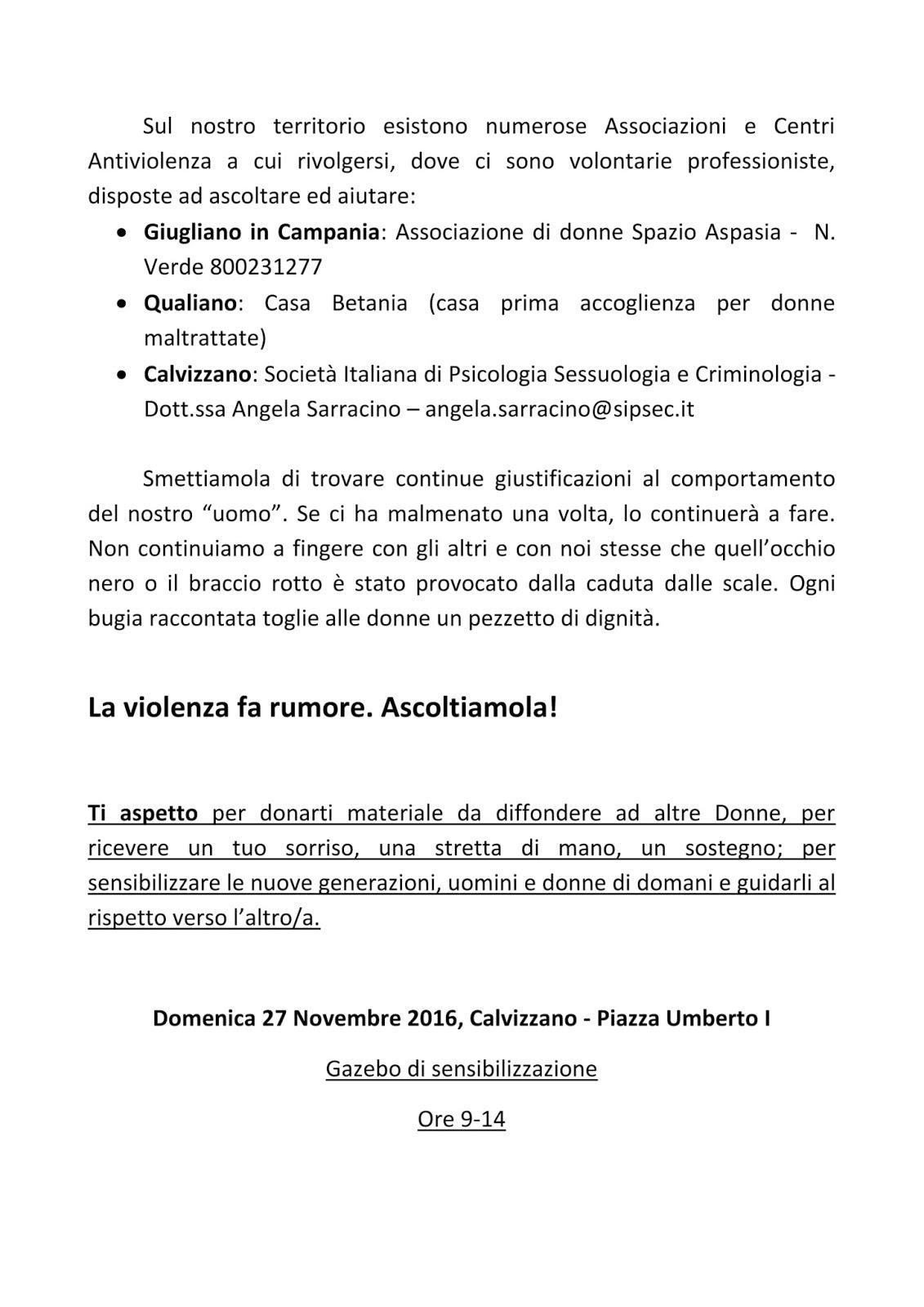 Calvizzano domenica gazebo in piazza per dire no alla for Societa italiana di criminologia