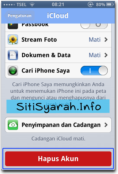 Cara Keluar iCloud iPhone