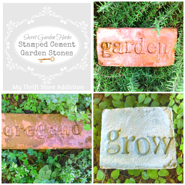 Secret Garden Herbs stamped cement garden stones