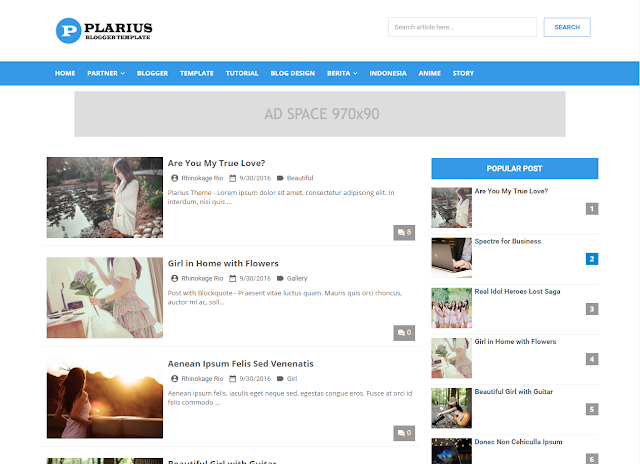 plarius blogger theme