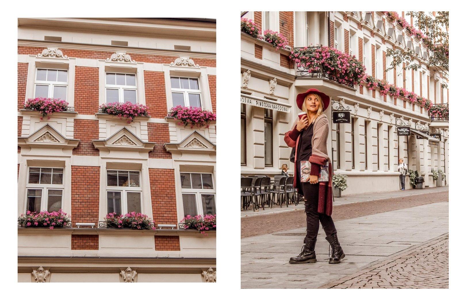 11a kardigan sweter w paski czerwony kapelusz bordowy sweter długi czarne spodnie z dziurami miejski street style styl outfit moda inspiracje pomysły łódź fotografia blog influencer modowe blogerki lifestyle podró