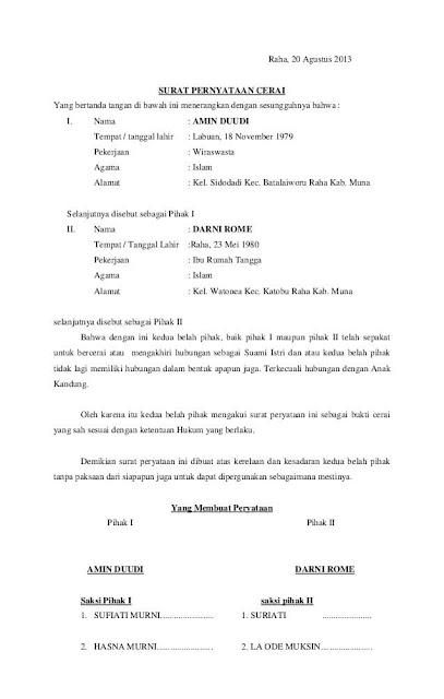 8 Contoh Surat Pernyataan Cerai Terlengkap Assalam Print