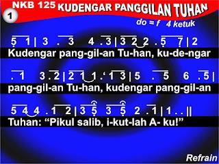 Lirik dan Not NKB 125 'Ku Dengar Panggilan Tuhan