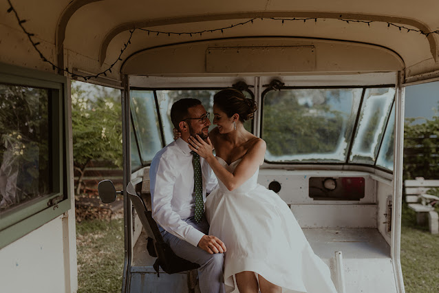 bride and groom in hipster van