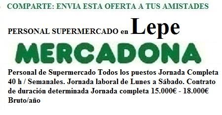 Lepe, Huelva. Lanzadera de Empleo Virtual. Oferta Mercadona