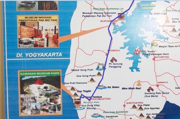 Peta Akses ke Lokasi Museum, perhatikan Garis Biru
