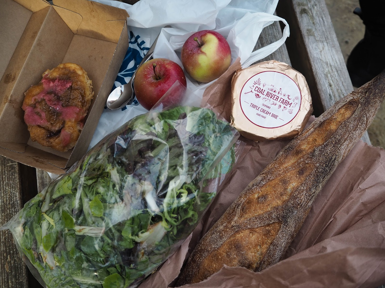 danish pastry, red apples, mixed salad leaves, baguette, brie