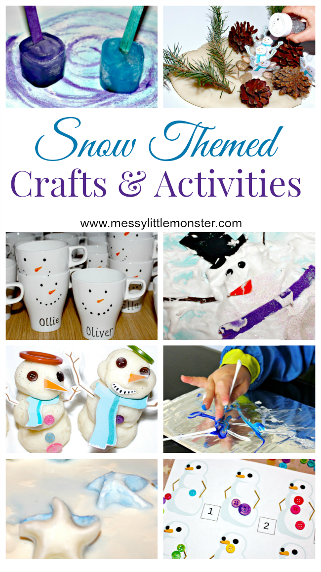 Snow crafts for kids. Snow activities for kids, toddlers and preschoolers. Winter themed crafts and activities.