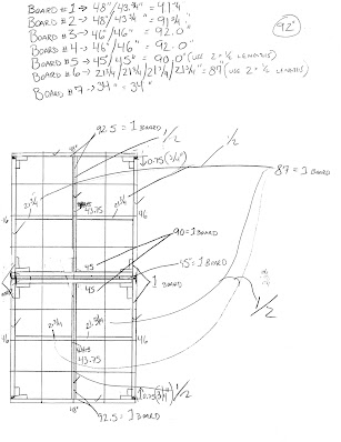 An original planning sketch with measurements for a 4' x 8' benchwork table