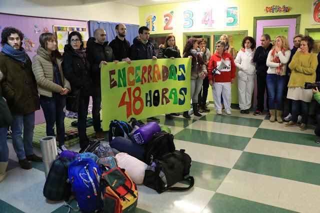 Encierro de trabajadores del colegio