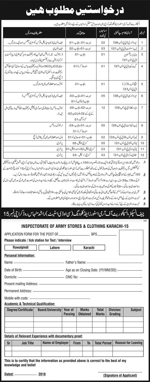 Jobs In Pak Army at Inspectorate Of Army Stores And Clothing Karachi June 2018