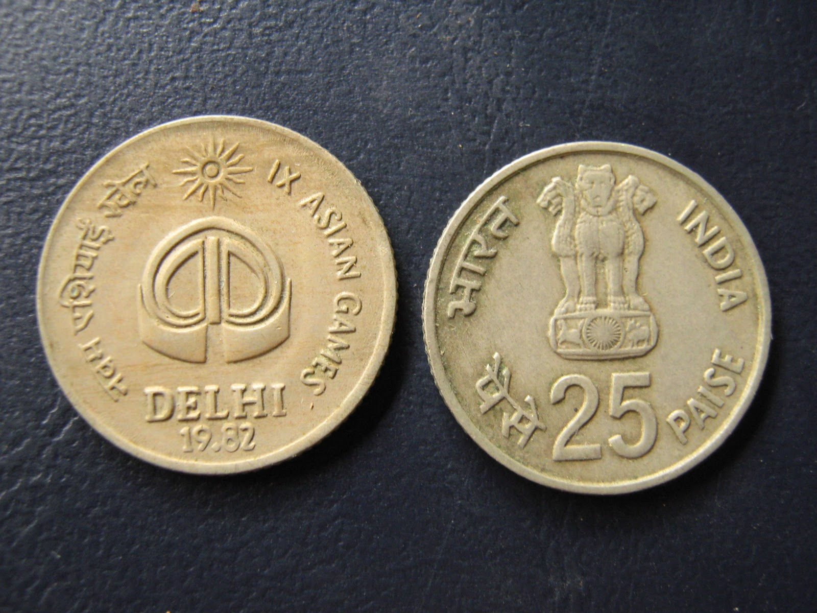 Rare British Amp Republic India Currency 25 Paise Ix Asian Games Delhi 1982 Coin