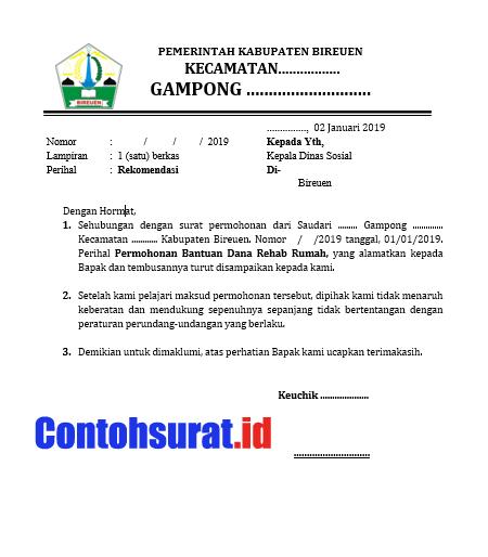 Contoh Surat Rekomendasi Kepala Desa Keuchik Untuk