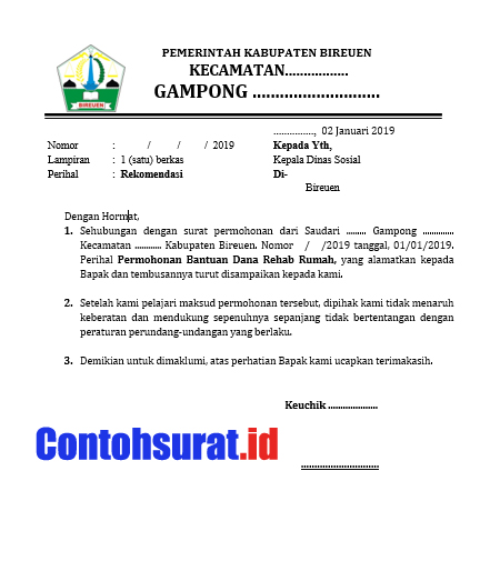Contoh Surat Rekomendasi Kepala Desa Keuchik