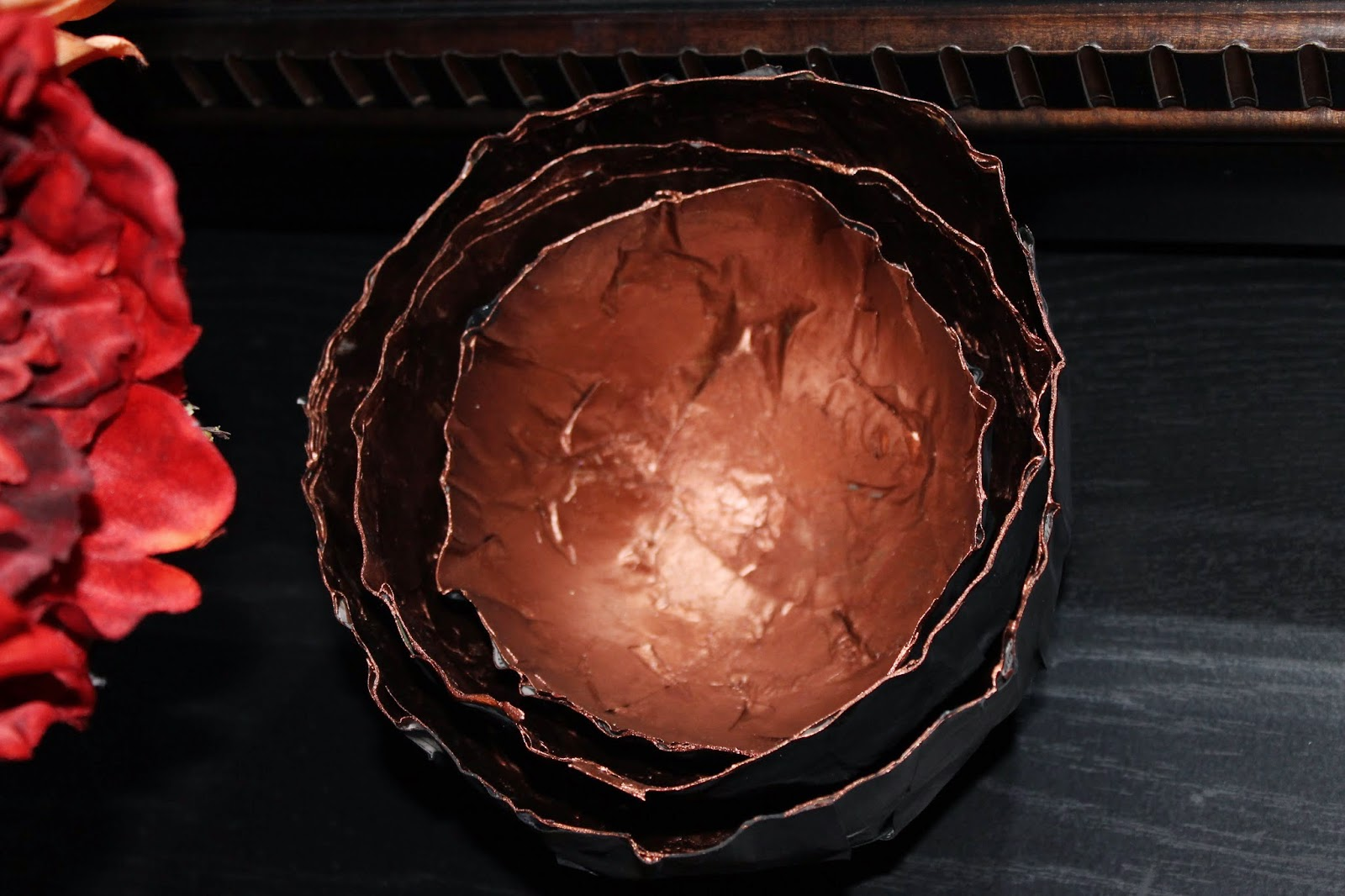paper mache black and copper fall nesting bowls