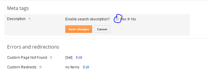 Enable the blogger search engine preference