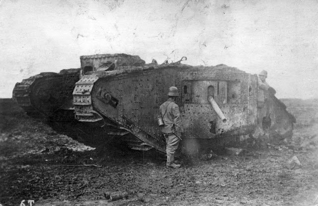German soldier with destroyed British tank Battle Arras