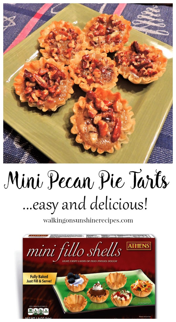 Mini Pecan Pie Tartlets are easy to make and only take 30 minutes.  And there's only 68 calories per tart!  Walking on Sunshine Recipes.