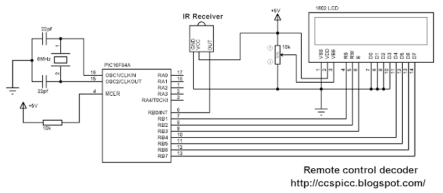 RC-5 IR remote control decoder using PIC16F84A microcontroller circuit schematic CCS PIC C