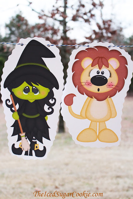 The Wizard Of Oz Birthday Party DIY Banner Garland Flag Bunting Idea-Dorothy, Toto, Tinman, Scarecrow, Cowardly Lion, Glinda, Wicked Witch of the West