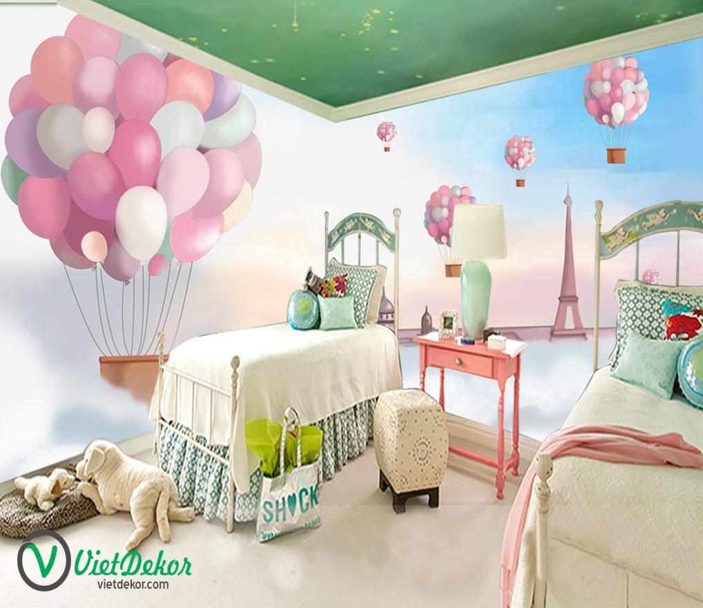 Tranh dán tường 3d phòng ngủ cho bé gái