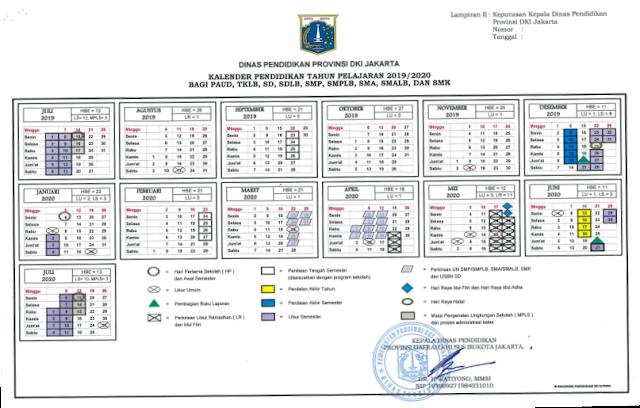 Kalender Pendidikan Provinsi DKI Jakarta Tahun Pelajaran 2019/2020
