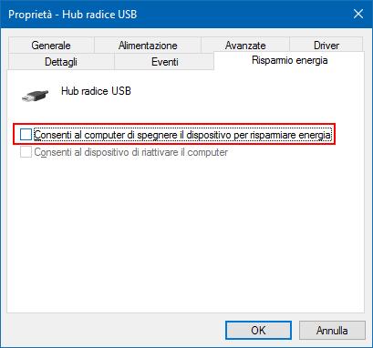 Windows disattivare opzione Consenti computer spegnere dispositivo