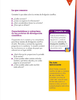 Apoyo Primaria Formación Español 3ro. Grado Bloque III Lección 7 Practica social del lenguaje 7, Armar una revista de divulgación científica para niños