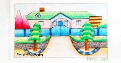 Tutorial menggambar rumah dengan oil pastels