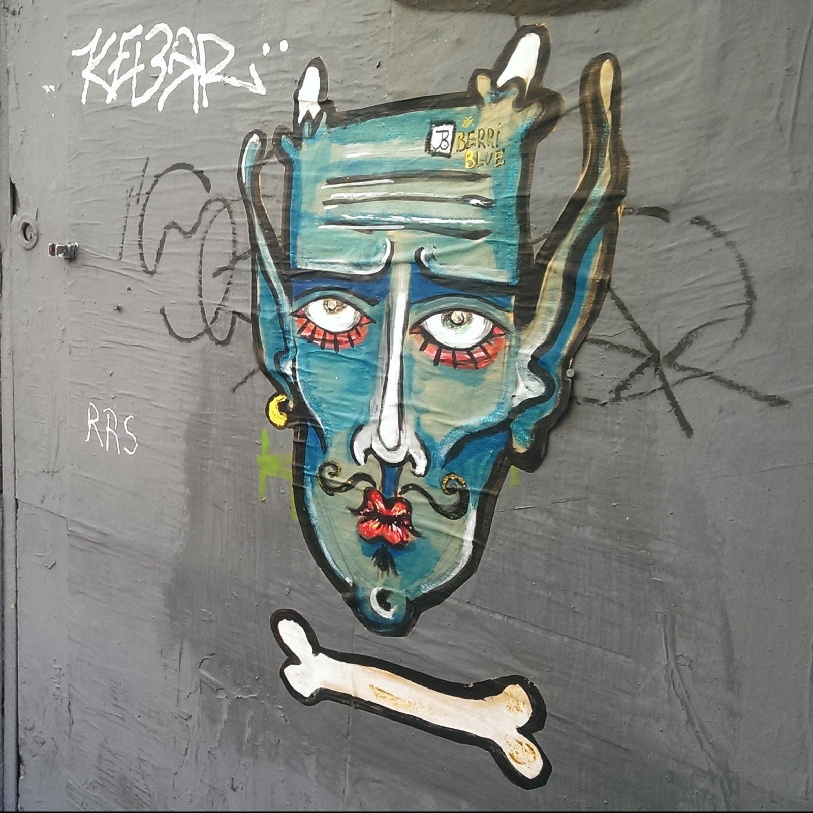 Street Art Berriblue Graffiti Devil Satan Demon Blue Face Bones