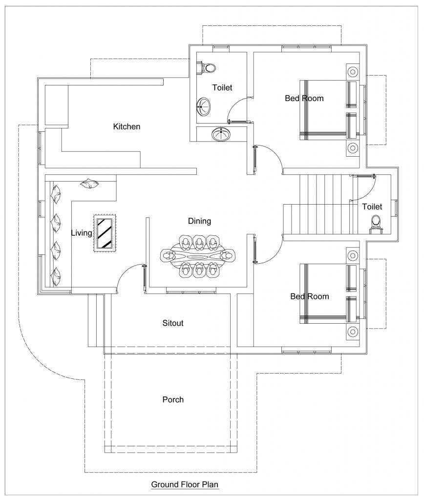 low budget stylish 2 bedroom home plan in 930 sqft for