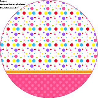Colored Dots for Girls Toppers or Free Printable Candy Bar Labels.