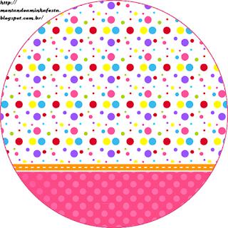 Toppers o Etiquetas de Puntos de Colores para Niña para imprimir gratis.