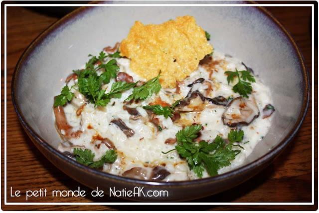 risotto aux champignons et son jus de viande