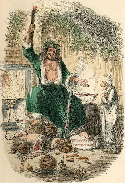 Ο Σκρουτζ και το φάντασμα των Χριστουγέννων του Παρόντος σε εικονογράφηση του John Leech, 1843 / The Ghost of Christmas Present, by John Leech, 1843