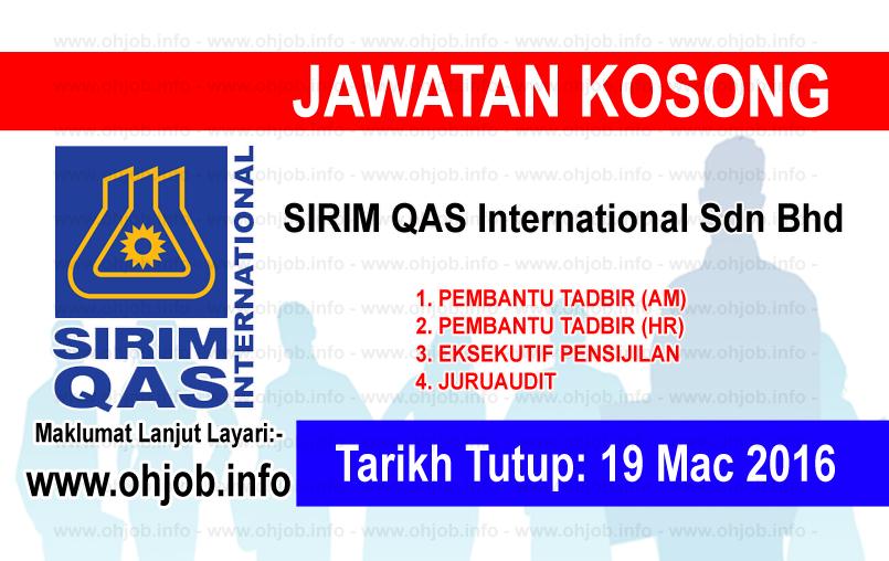 Jawatan Kerja Kosong SIRIM QAS International Sdn Bhd logo www.ohjob.info mac 2016