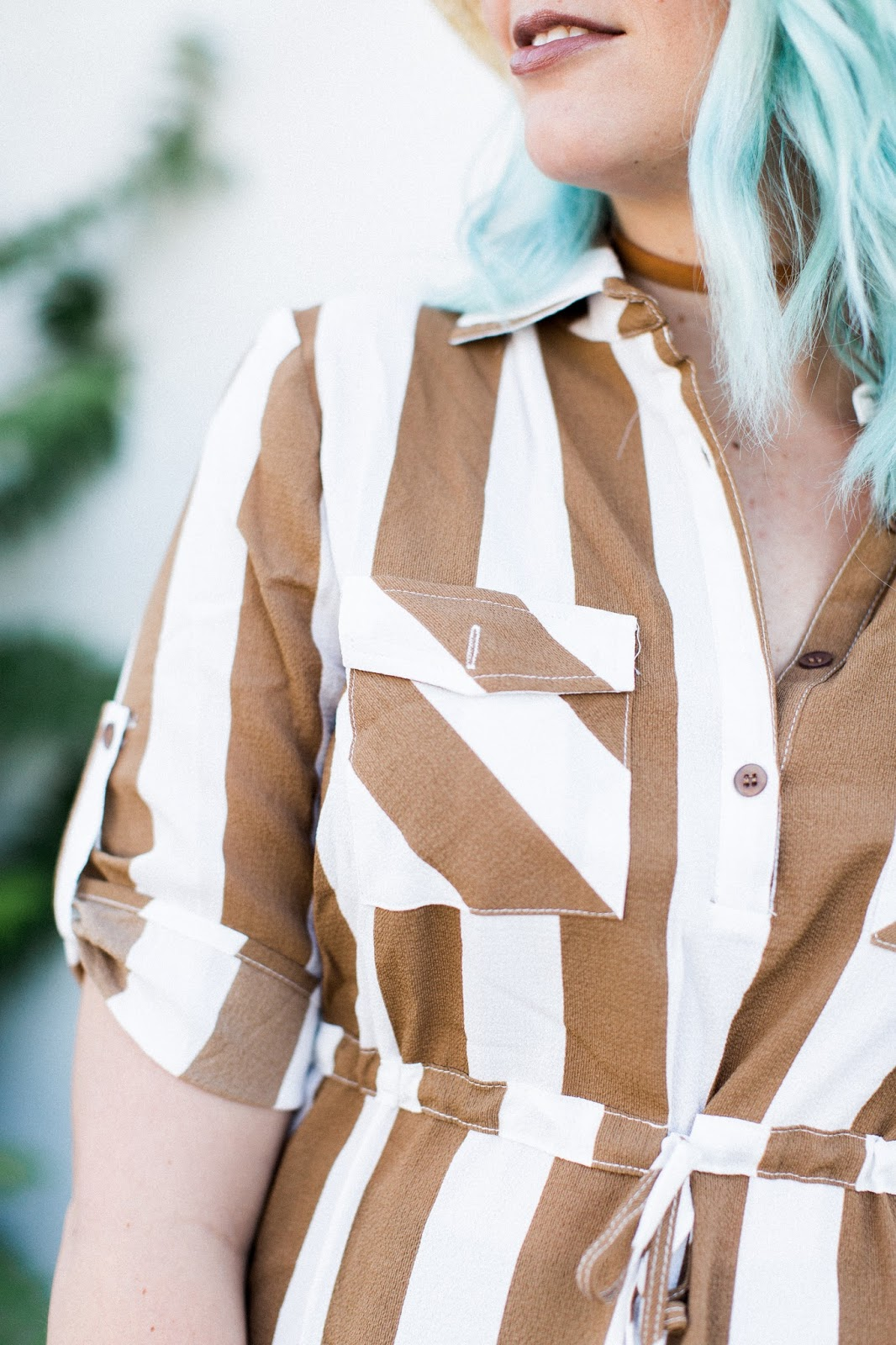 stripes, modest shirt, fall look
