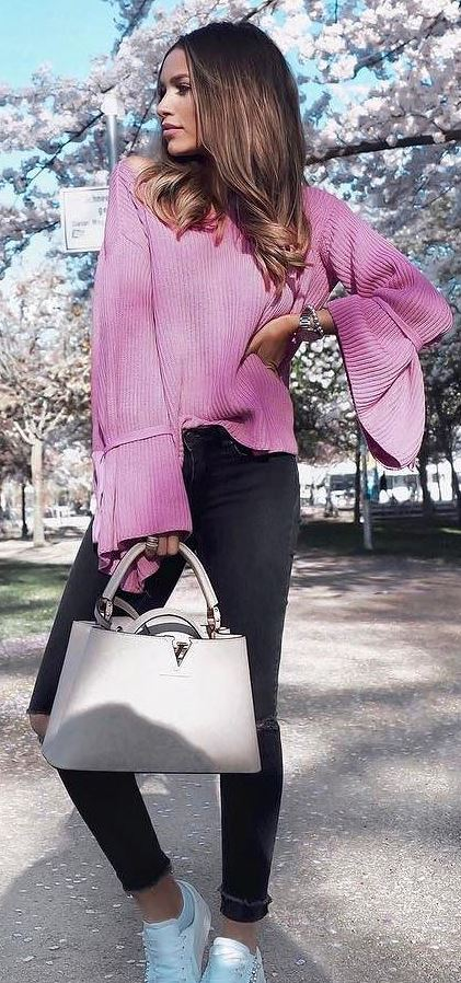 cool ootd: pink top + skinny pants + bag