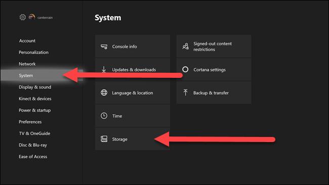 قوائم إعدادات Xbox مع وجود أسهم تشير إلى خيارات النظام والتخزين.