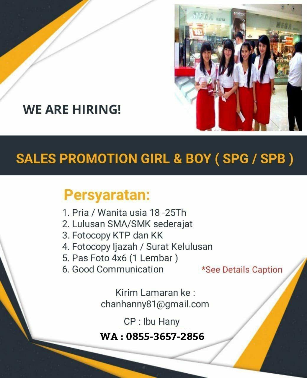 Lowongan Kerja Sales Promotion Girl & Boy ( SPG / SPB ) Bandung September 2018