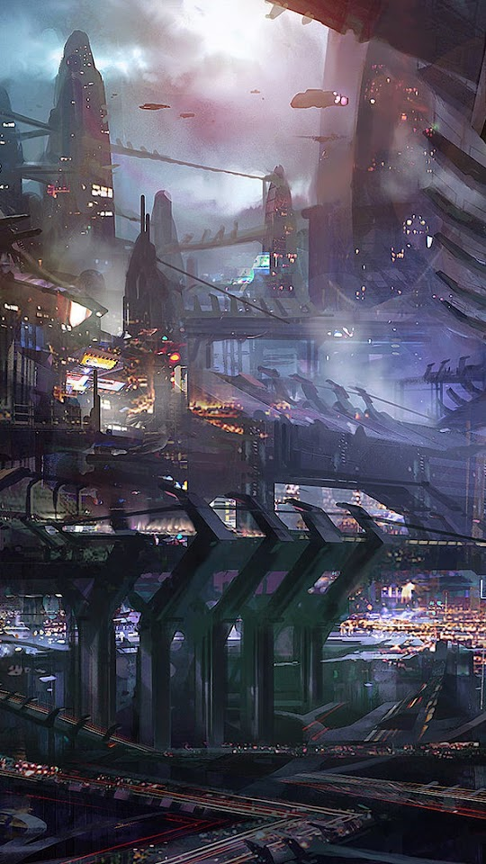 Science Fiction City Illustration  Galaxy Note HD Wallpaper